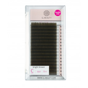 Double Line Volume Silk Lashes C-Curl 0,07 / 10mm - bright brown